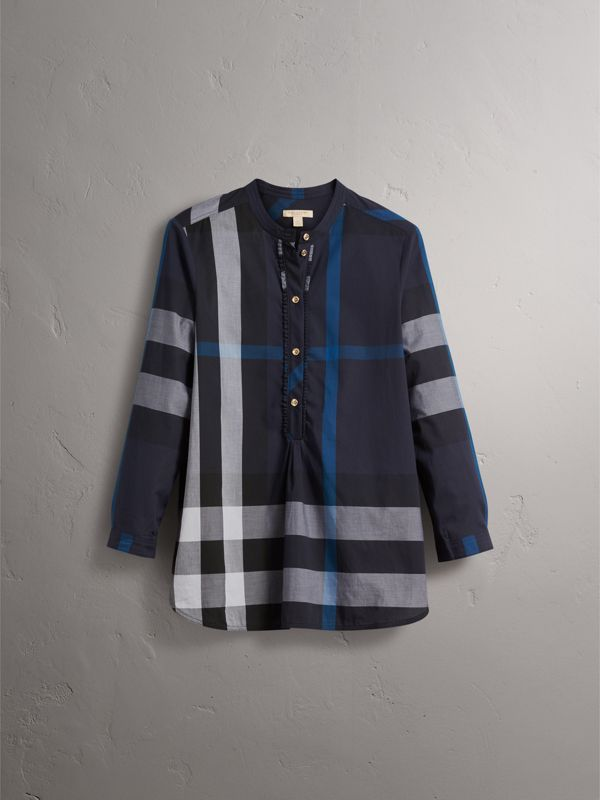 Check Grandad Collar Shirt in Navy - Women | Burberry - cell image 3