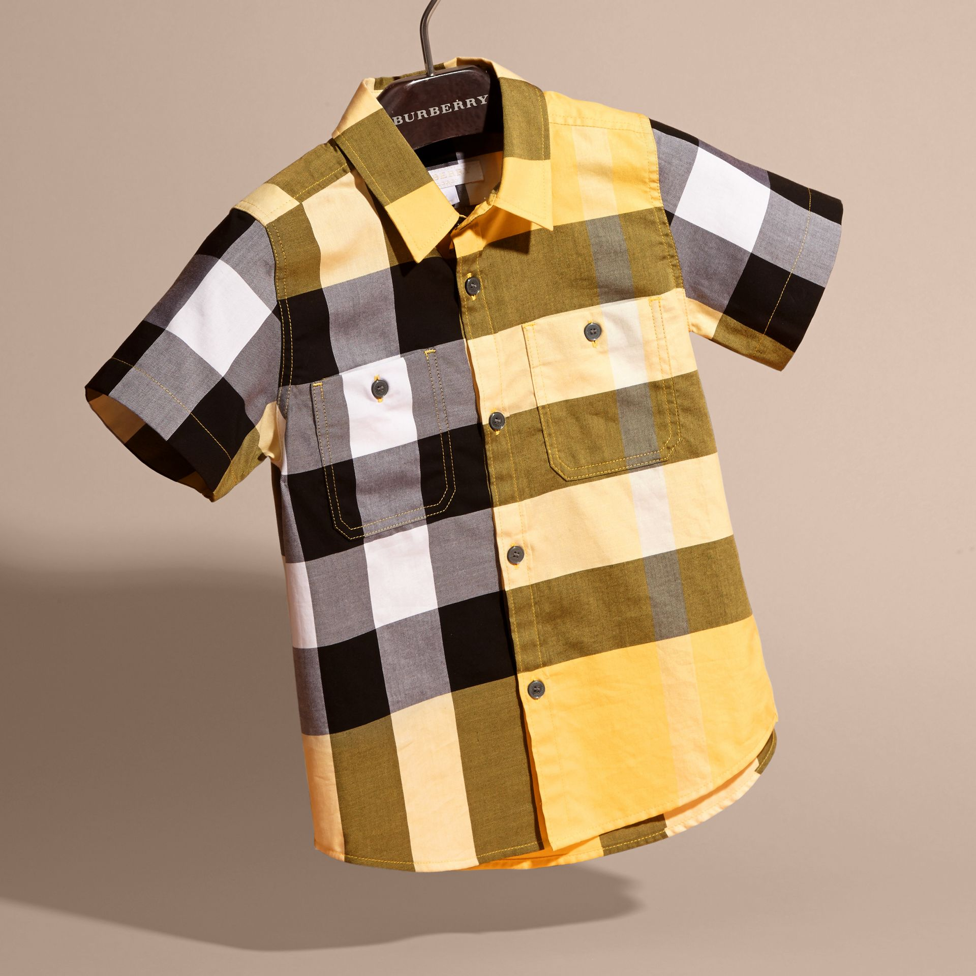 Short-sleeved Check Cotton Shirt Bright Yellow - gallery image 3