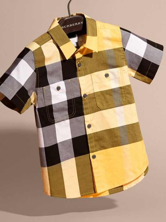 Short-sleeved Check Cotton Shirt Bright Yellow - cell image 2