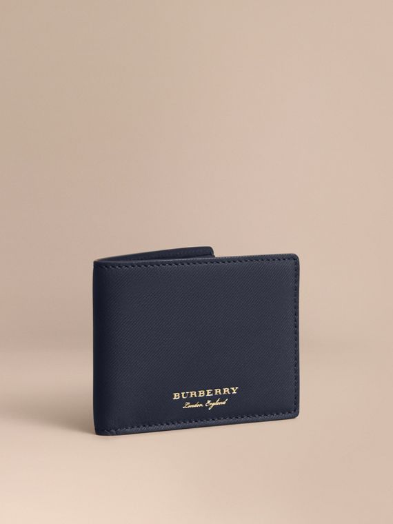 Trench Leather Bifold Wallet in Ink Blue