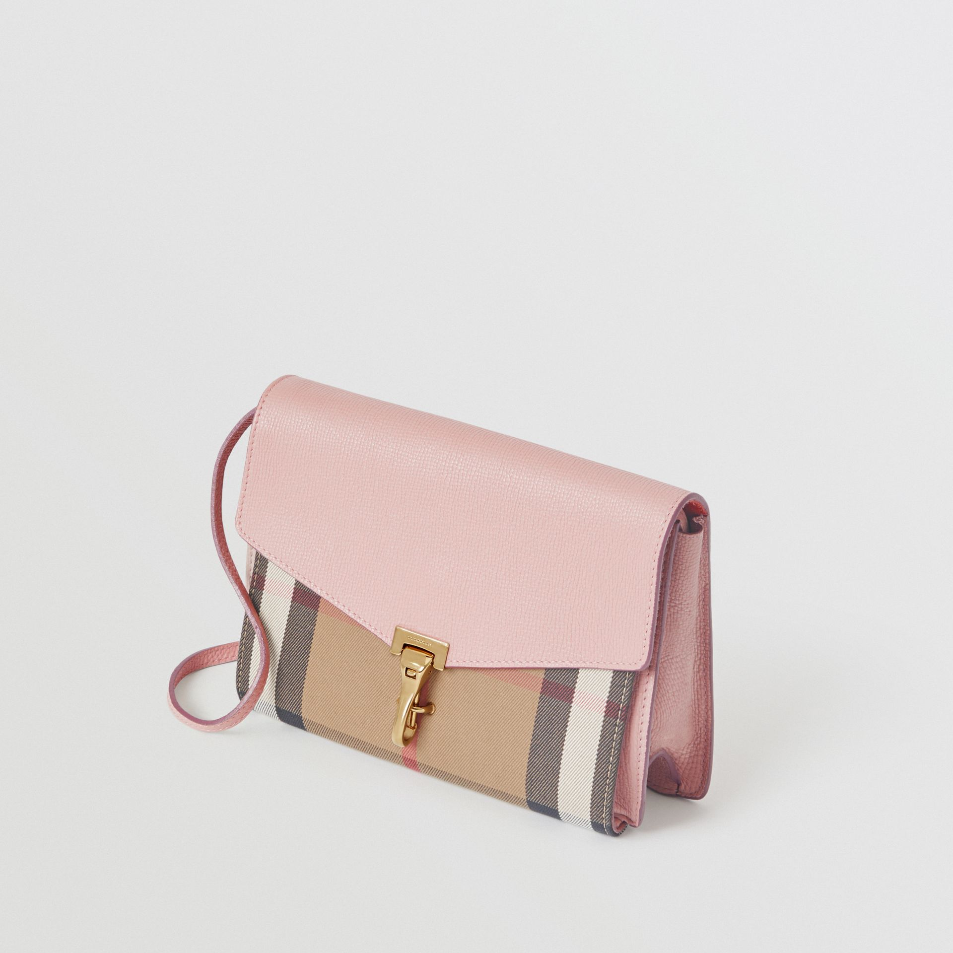 Small Leather and House Check Crossbody Bag in Pale Orchid - Women | Burberry Australia - gallery image 4