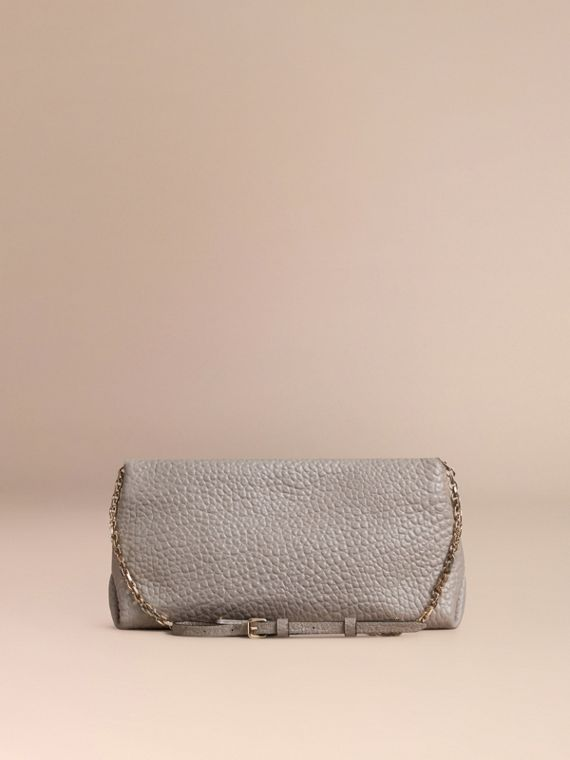 Pale grey Medium Signature Grain Leather Clutch Bag Pale Grey - cell image 3