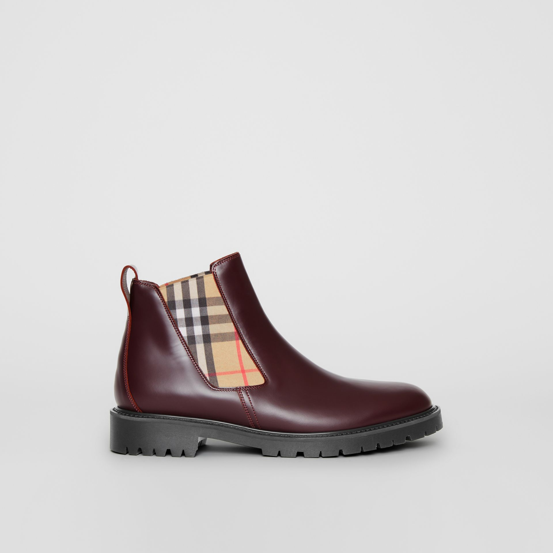 Vintage Check Detail Leather Chelsea Boots in Oxblood - Men | Burberry Australia - gallery image 5