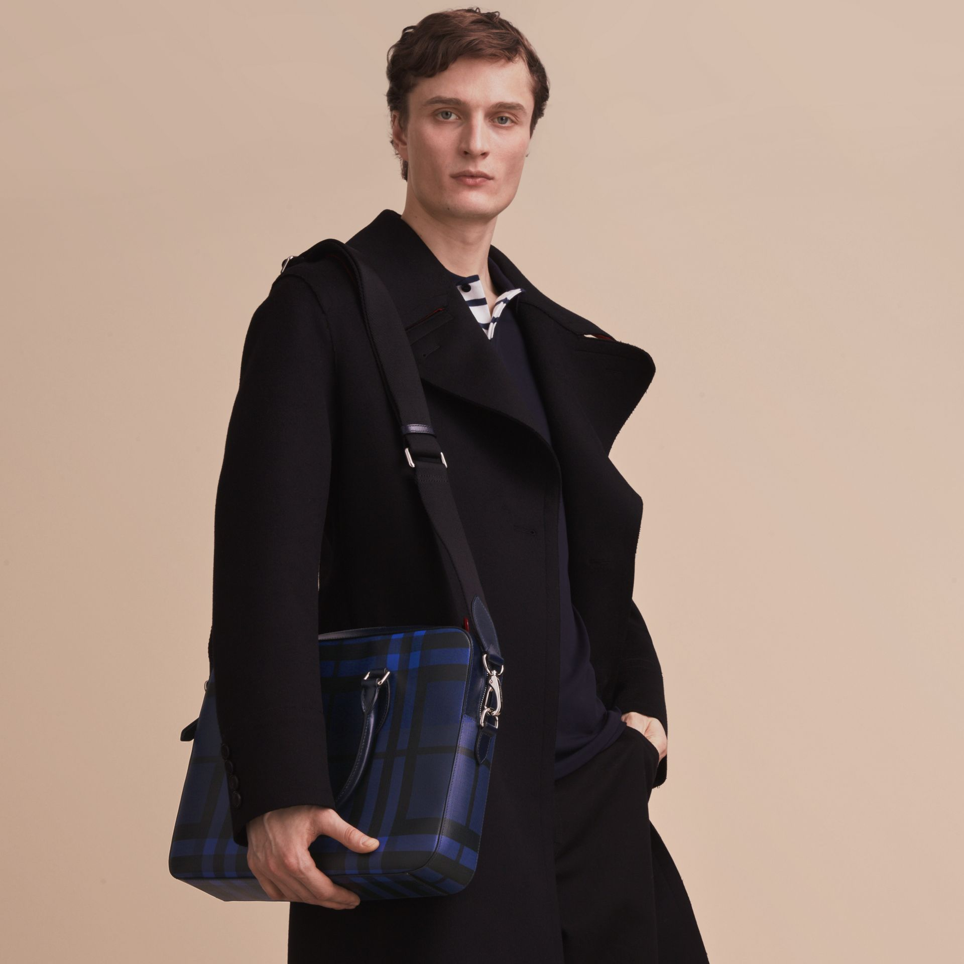 Medium Leather Trim London Check Briefcase in Bright Lapis - Men | Burberry - gallery image 4