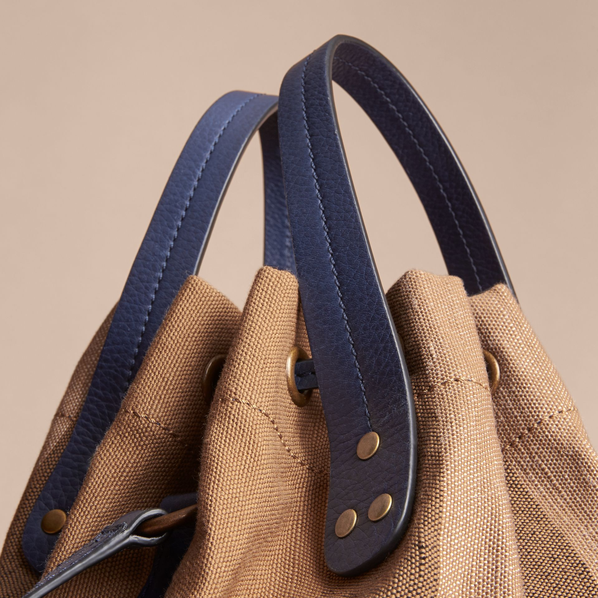 Small Canvas Check and Leather Bucket Bag in Brilliant Navy - Women | Burberry United States - gallery image 7
