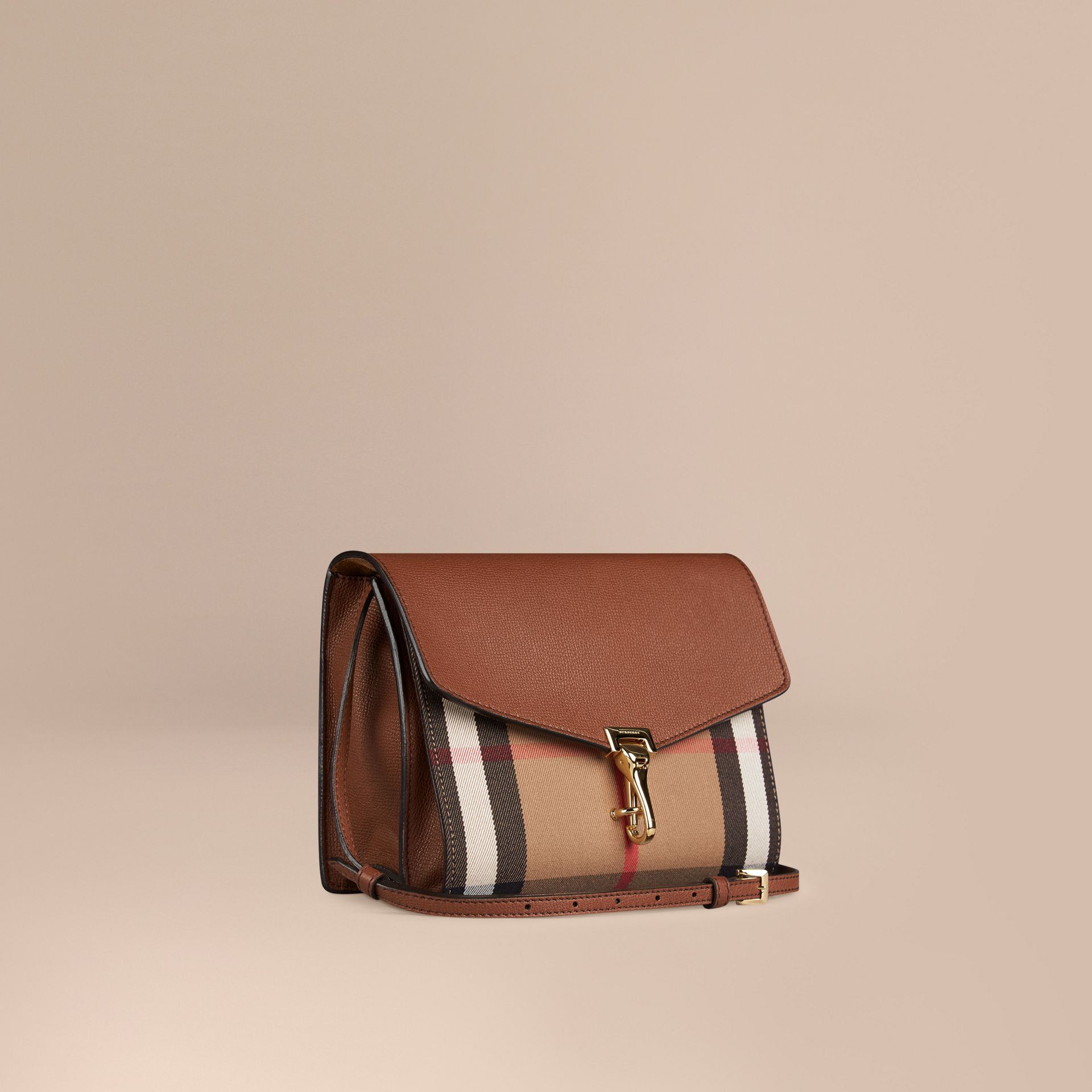 Tan Small Leather and House Check Crossbody Bag Tan - gallery image 1