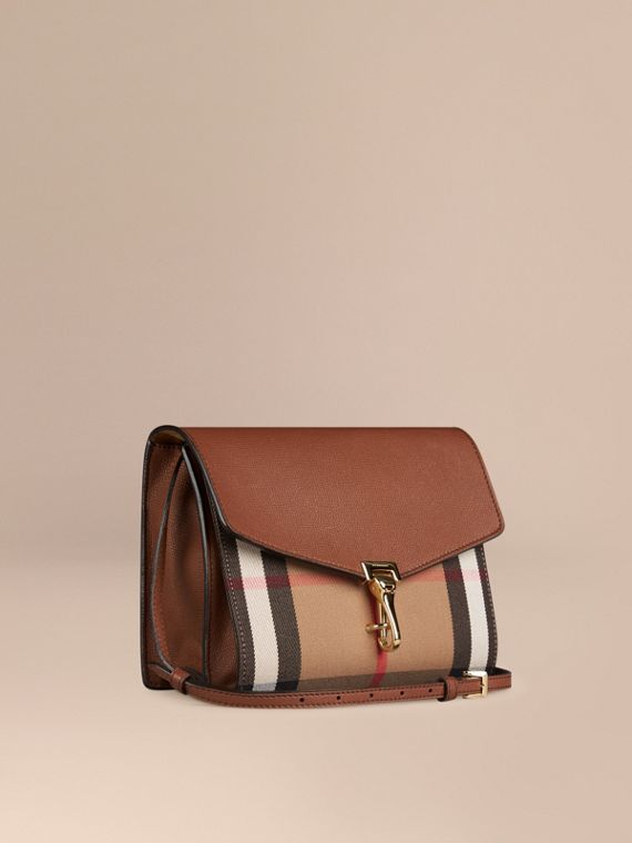 Small Leather and House Check Crossbody Bag Tan