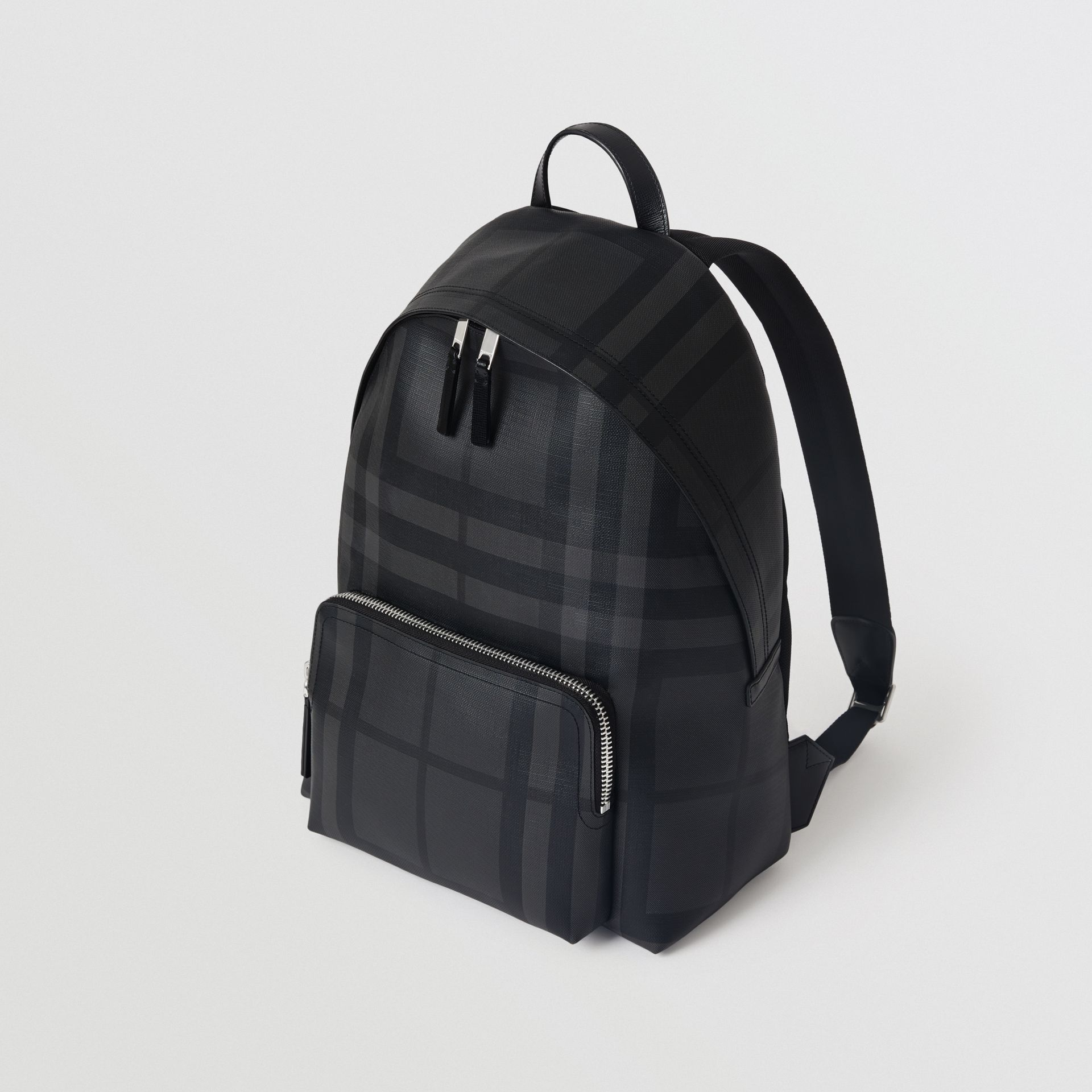 Leather Trim London Check Backpack in Charcoal/black - Men | Burberry Australia - gallery image 0