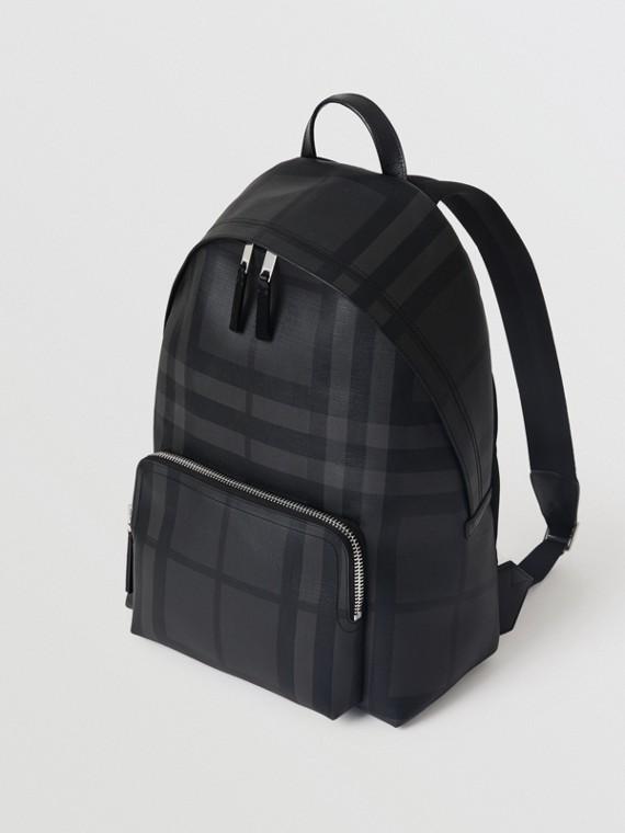 皮製飾邊 London 格紋後背包 (炭灰色/黑色)