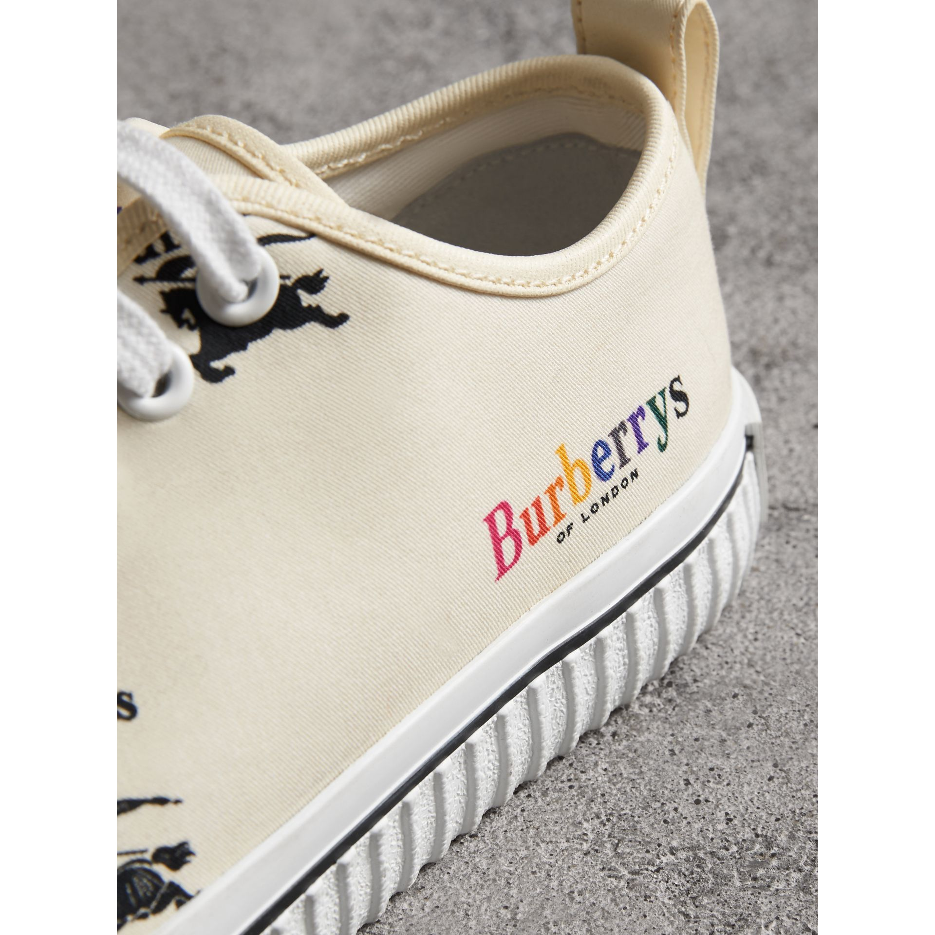 Archive Logo Cotton Sneakers in Off White - Women | Burberry - gallery image 1
