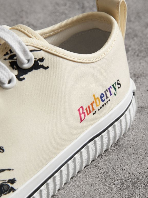 Archive Logo Cotton Sneakers in Off White - Women | Burberry Singapore - cell image 1