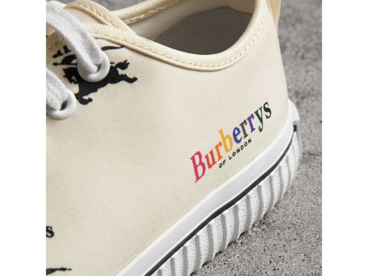 Archive Logo Cotton Sneakers in Off White - Women | Burberry United States - cell image 1