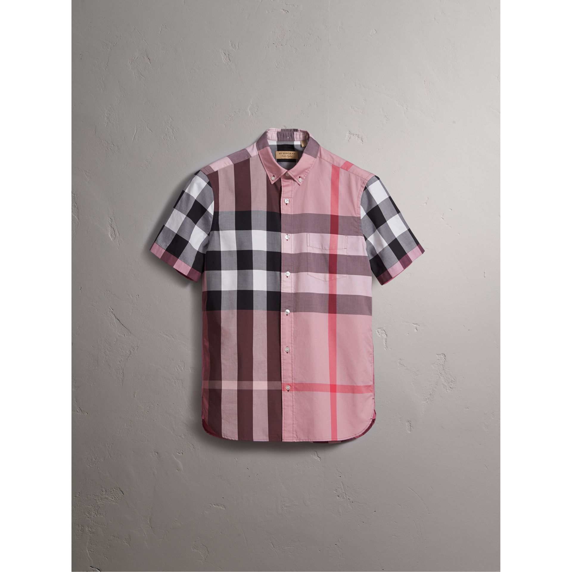 Button-down Collar Short-sleeve Check Cotton Shirt in Ash Rose - Men | Burberry - gallery image 3