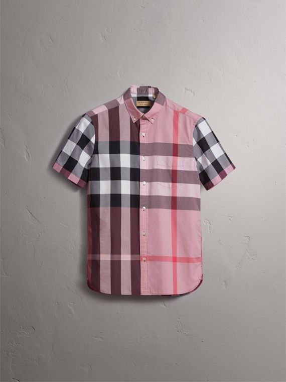 Button-down Collar Short-sleeve Check Cotton Shirt in Ash Rose - Men | Burberry - cell image 2