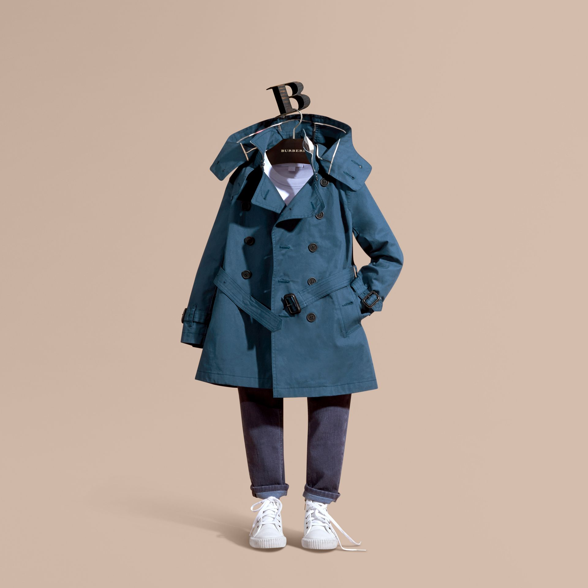 Pale indigo Hooded Cotton Twill Trench Coat Pale Indigo - gallery image 1
