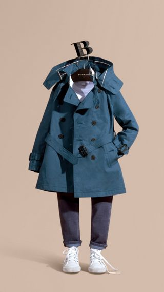 Hooded Cotton Twill Trench Coat