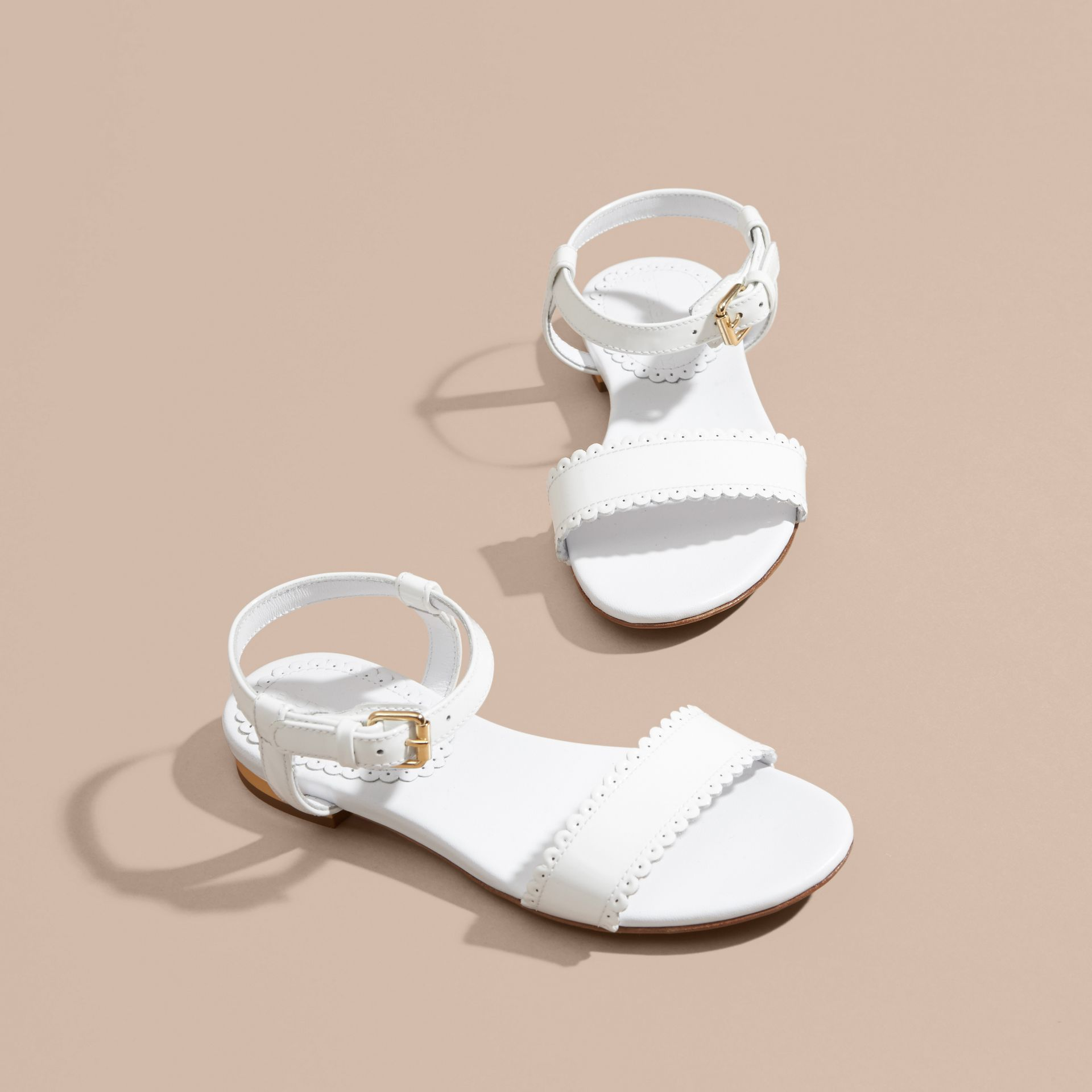Scallop Detail Leather Sandals in Optic White - gallery image 3