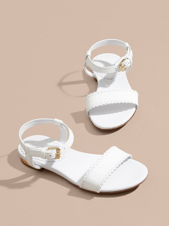 Scallop Detail Leather Sandals in Optic White - cell image 2