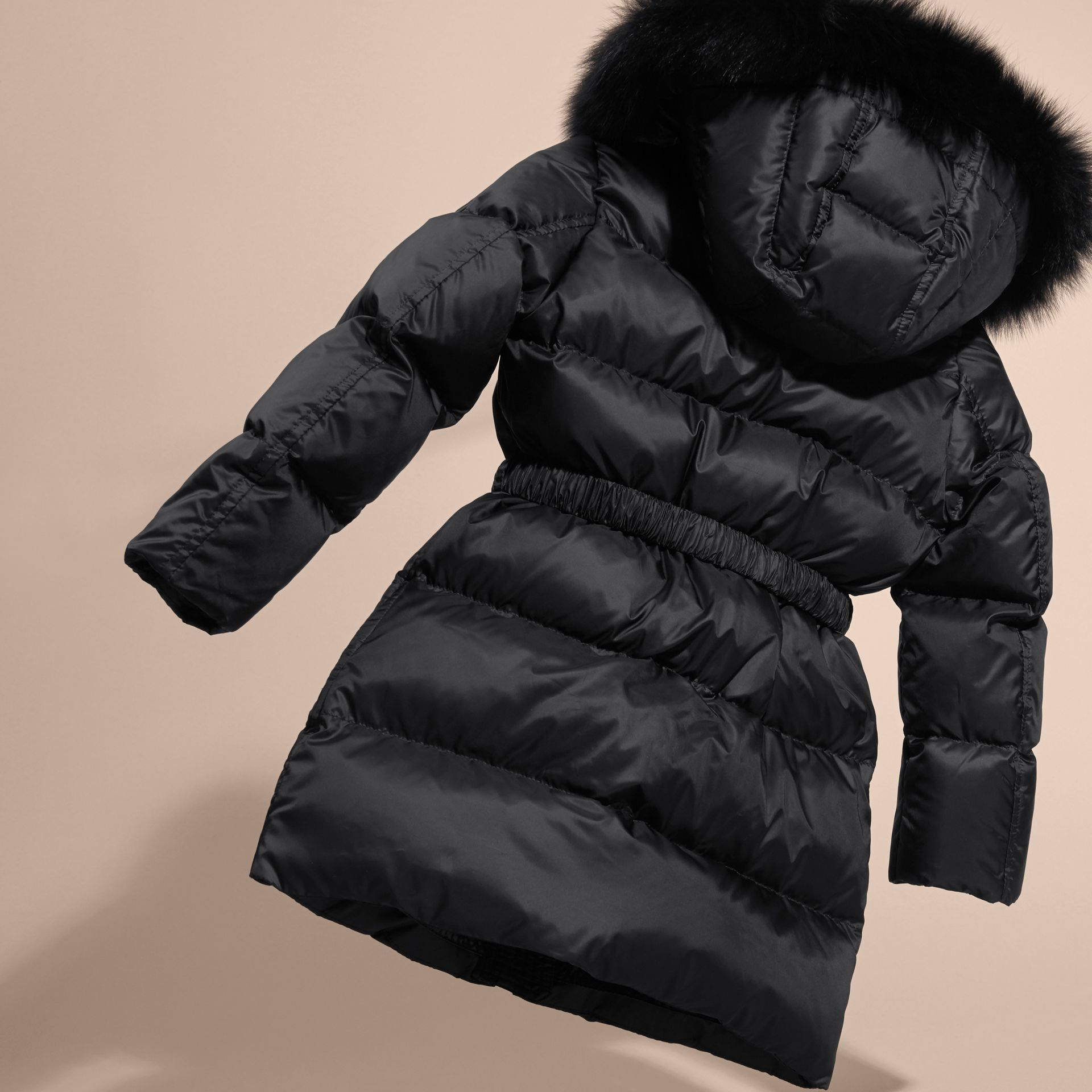 Detachable Fox Fur Trim Hood Down-filled Coat in Black - Girl | Burberry Canada - gallery image 4