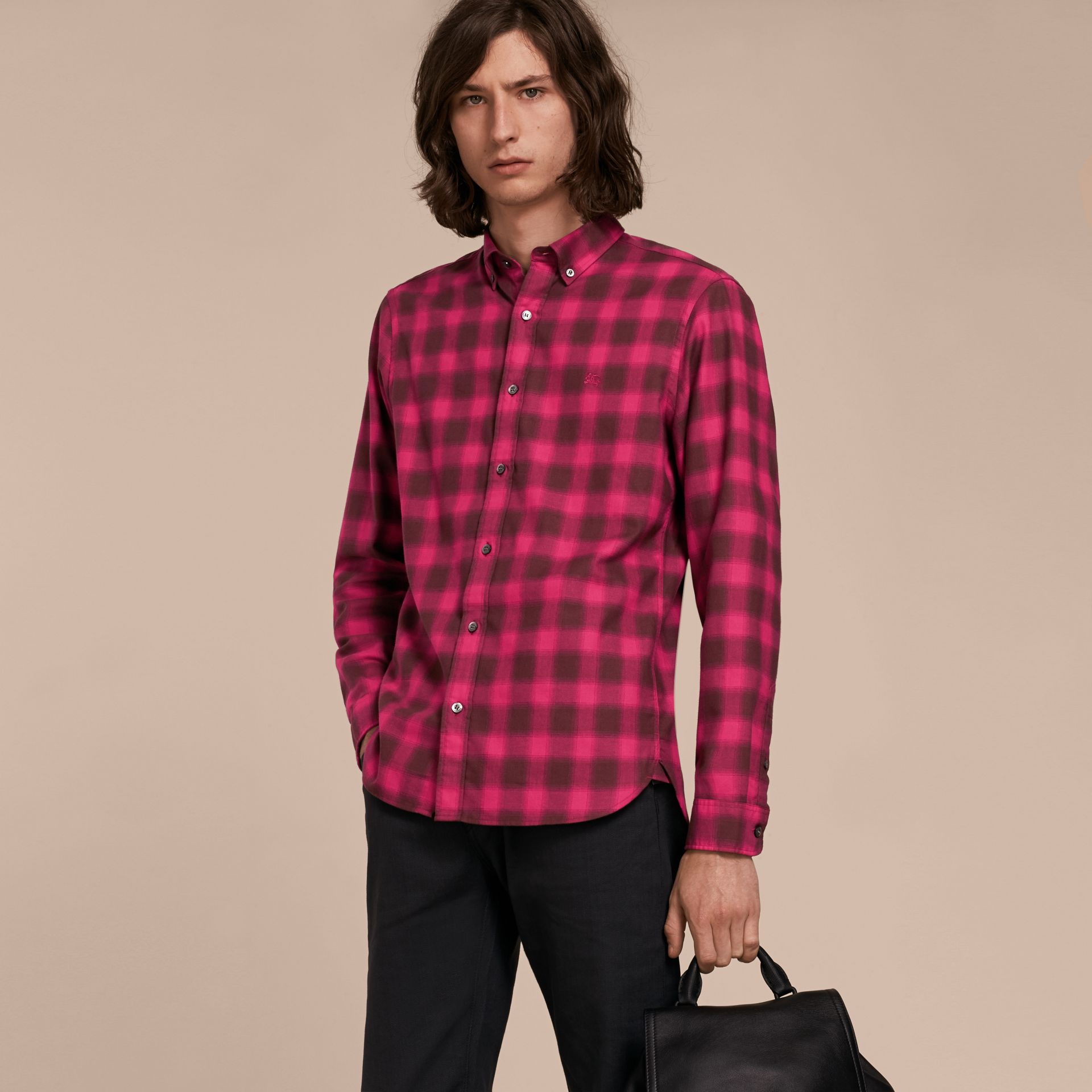 Bright rose Gingham Check Cotton Shirt Bright Rose - gallery image 6