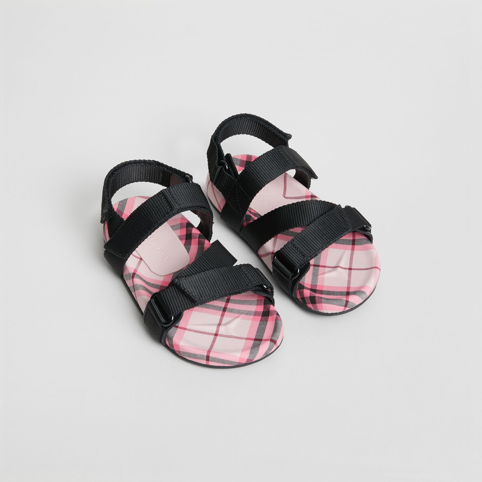 Ripstop Strap Check Cotton Sandals in Bright Rose | Burberry - gallery image 0