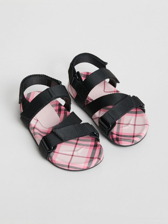 Ripstop Strap Check Cotton Sandals in Bright Rose