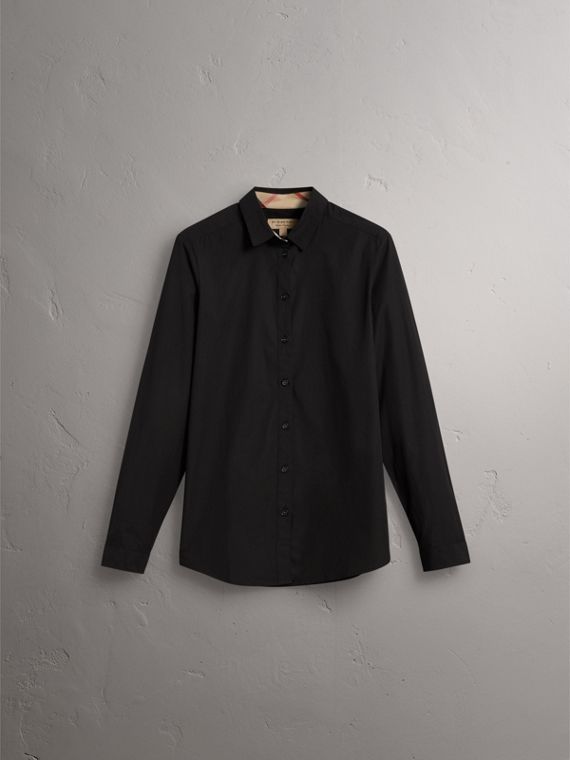 Check Detail Stretch-cotton Shirt in Black - Women | Burberry - cell image 3