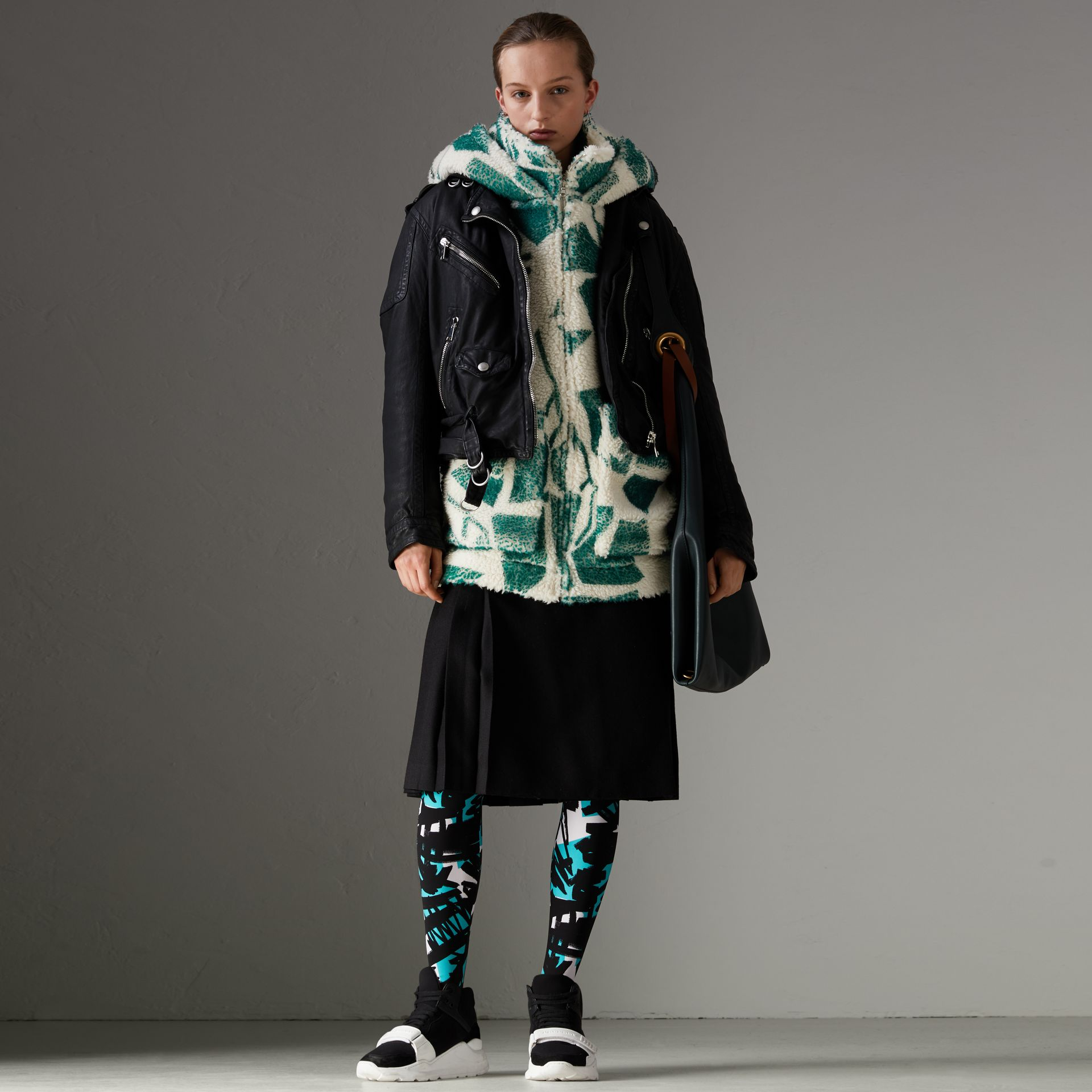 Floral Print Cashmere-silk Fleece Zipped Hoodie in Forest Green - Women | Burberry Australia - gallery image 0