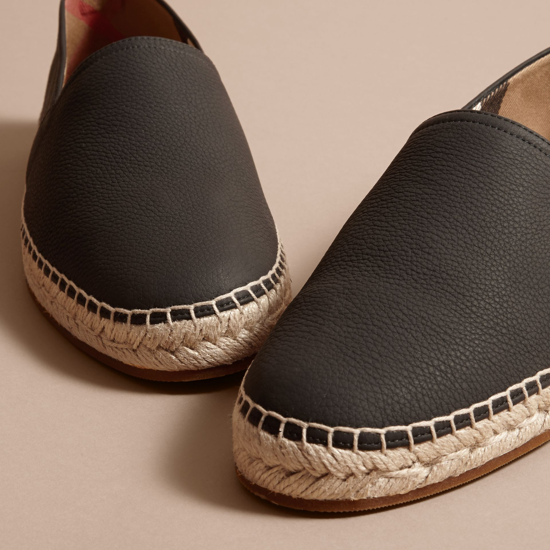 Check Detail Leather Espadrilles Black - gallery image 2