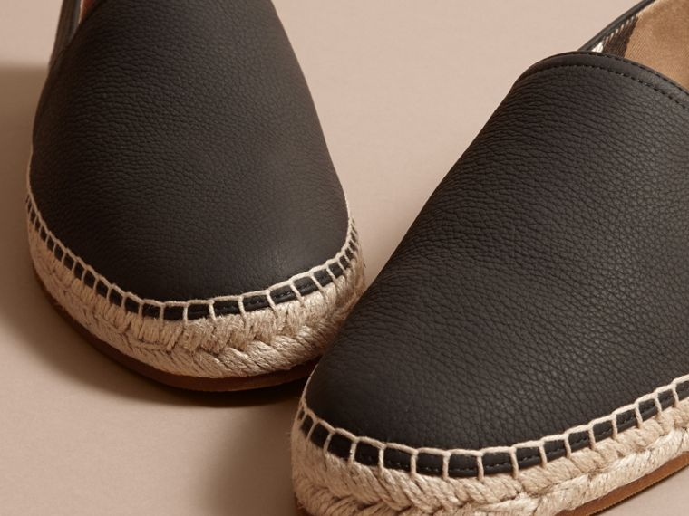Check Detail Leather Espadrilles Black - cell image 1