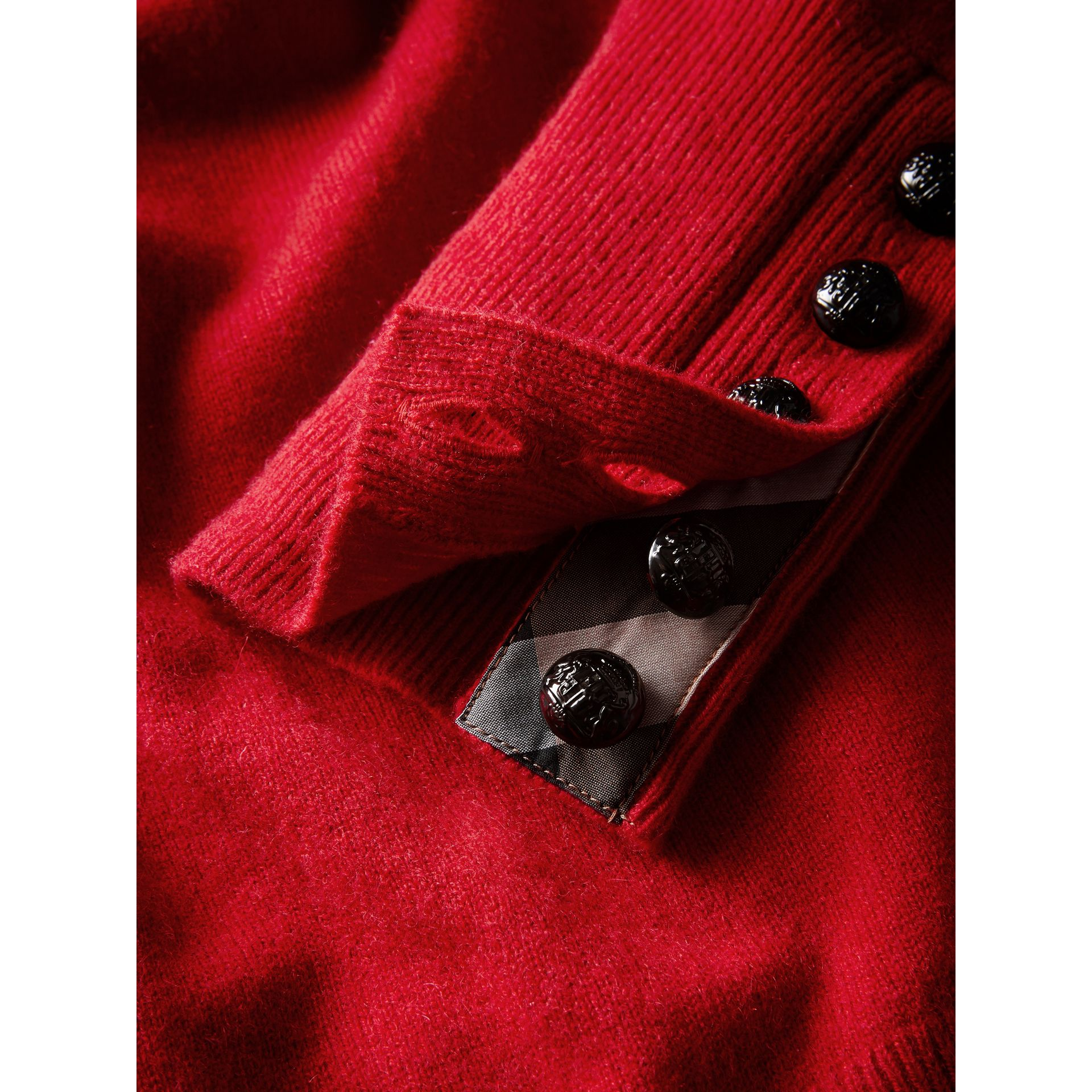 Cable Knit Yoke Cashmere Sweater in Military Red - Women | Burberry - gallery image 6