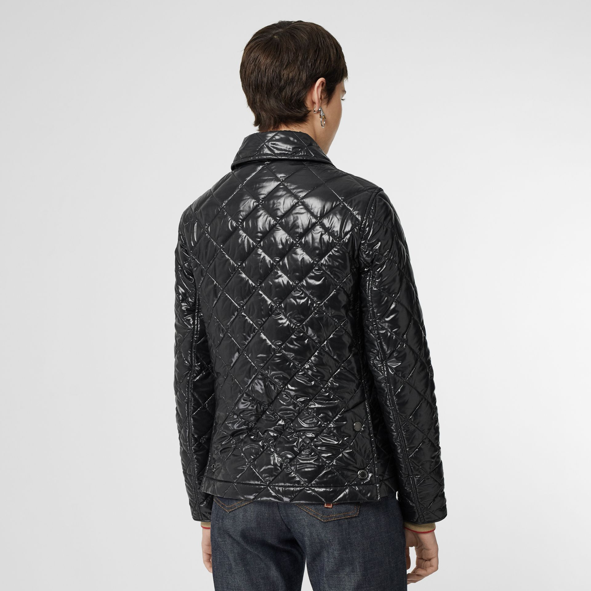 Monogram Motif Diamond Quilted Jacket in Black - Women | Burberry - gallery image 2