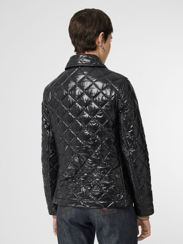 Monogram Motif Diamond Quilted Jacket in Black - Women | Burberry United States - cell image 2