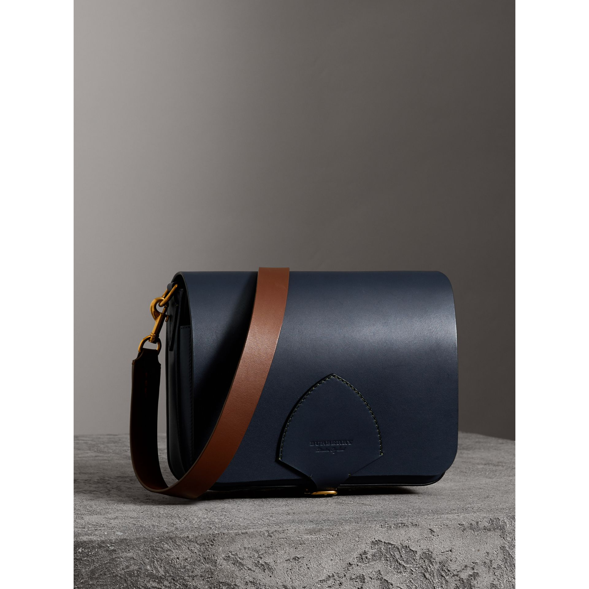 The Large Square Satchel in Leather in Mid Indigo - Women | Burberry United States - gallery image 6