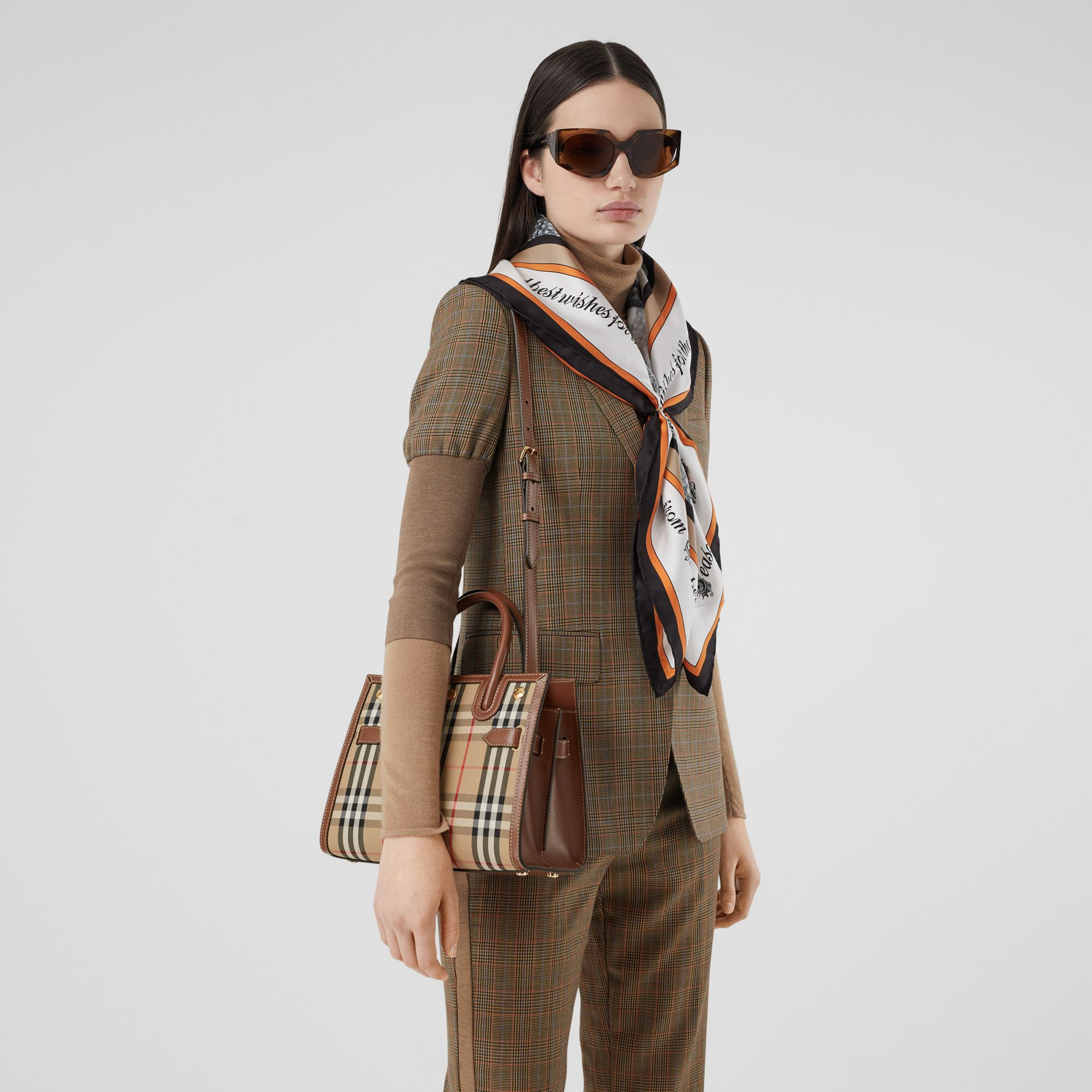 Mini Vintage Check Two-handle Title Bag in Archive Beige - Women | Burberry - gallery image 2