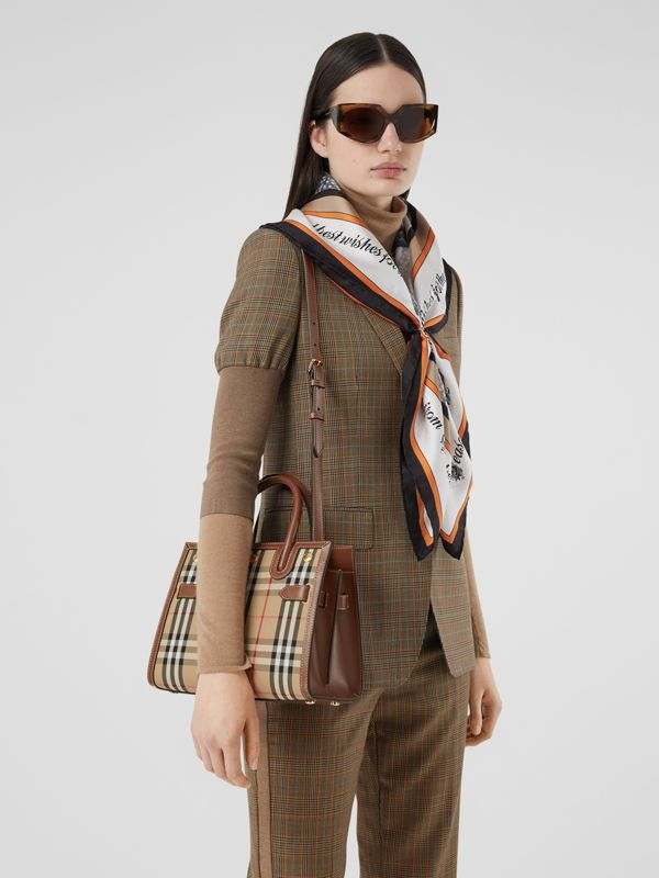 Mini Vintage Check Two-handle Title Bag in Archive Beige - Women | Burberry - cell image 2