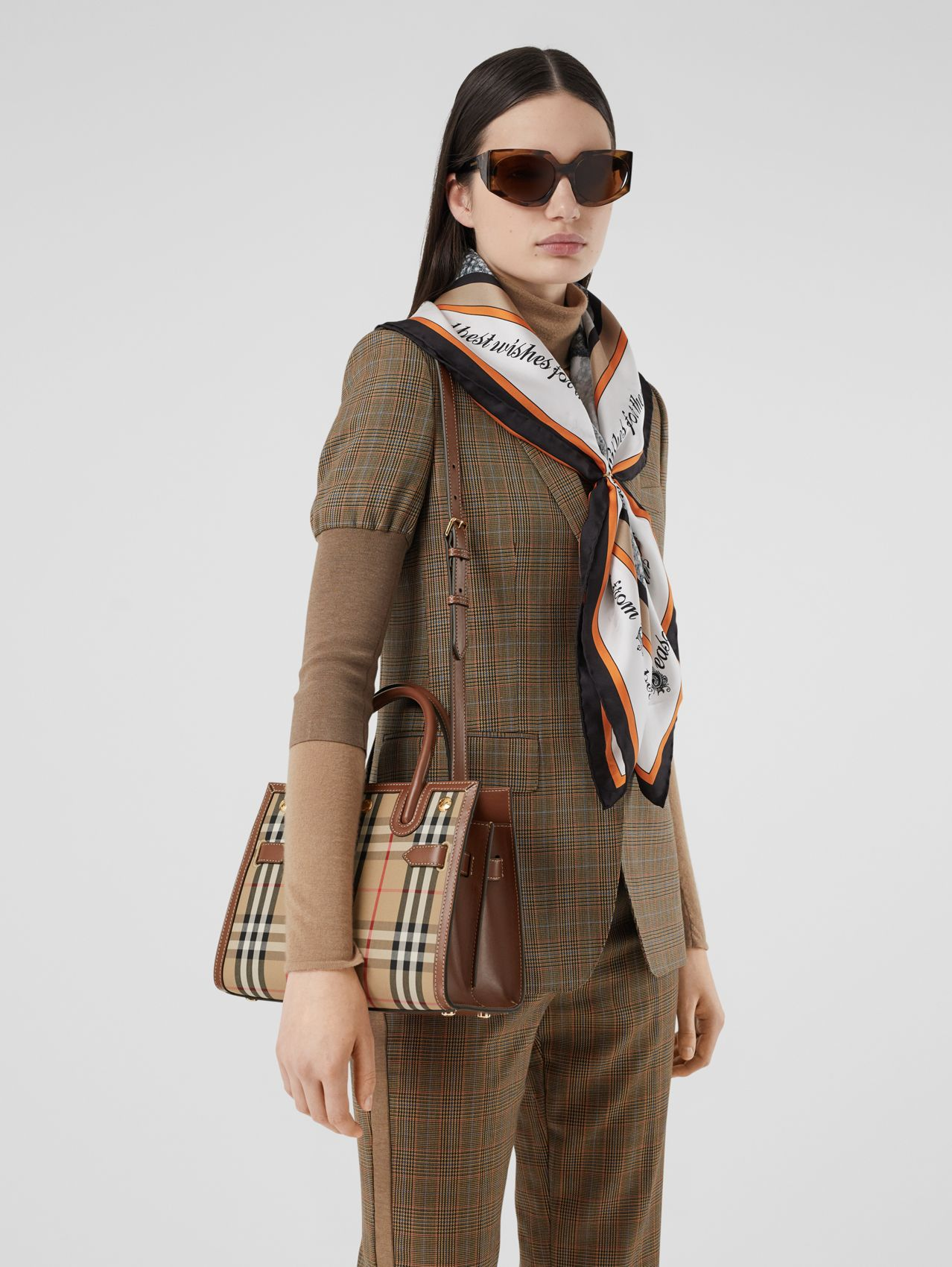 Mini Vintage Check Two-handle Title Bag in Archive Beige