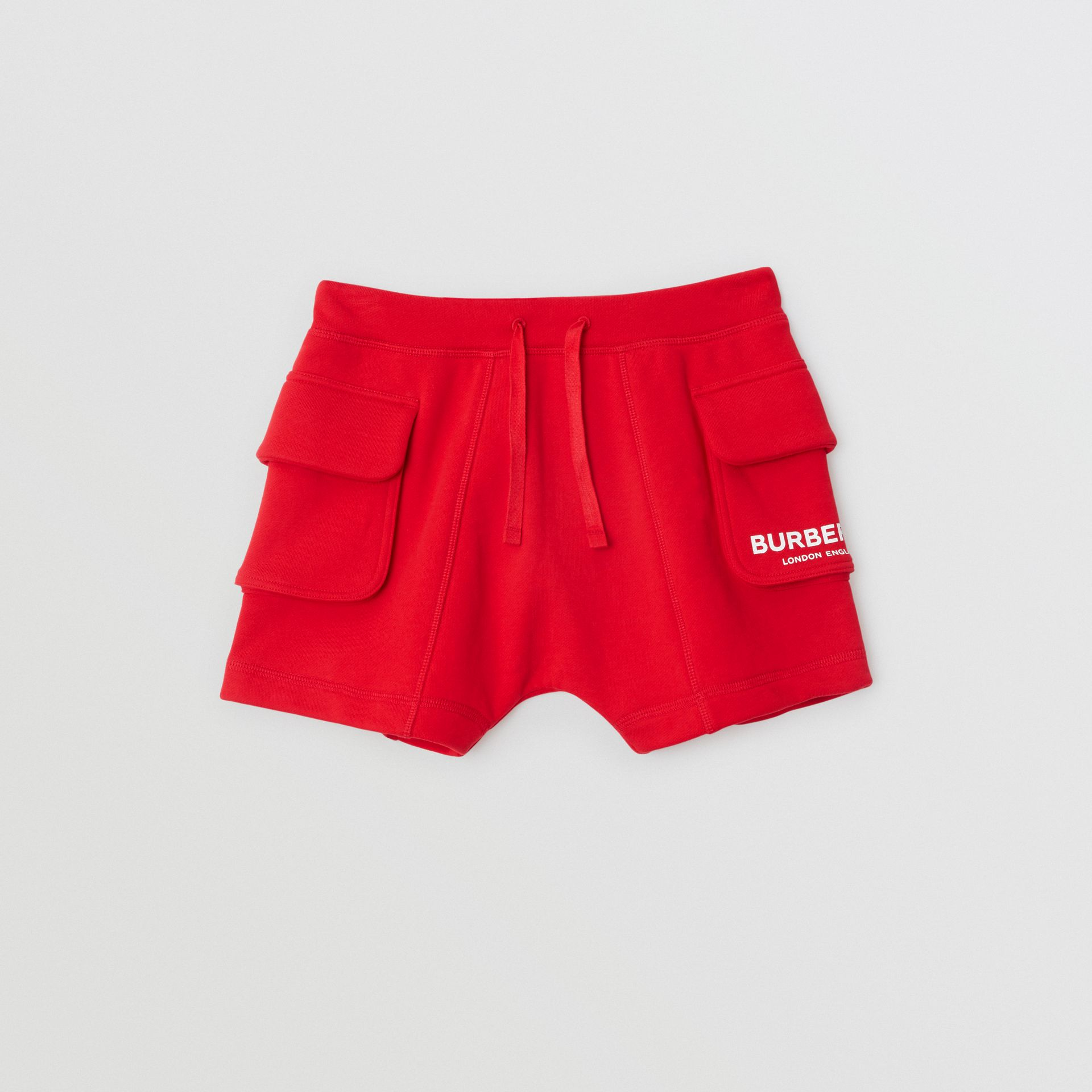 Logo Print Cotton Drawcord Shorts in Bright Red | Burberry - gallery image 0