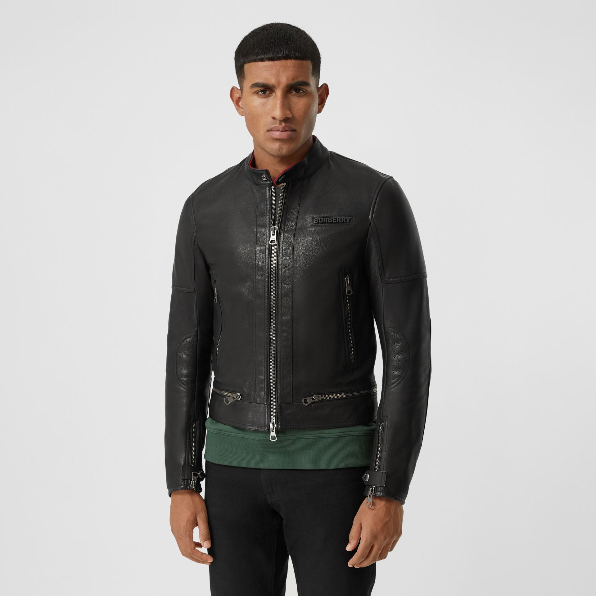 Logo Appliqué Leather Jacket in Black - Men | Burberry - gallery image 5