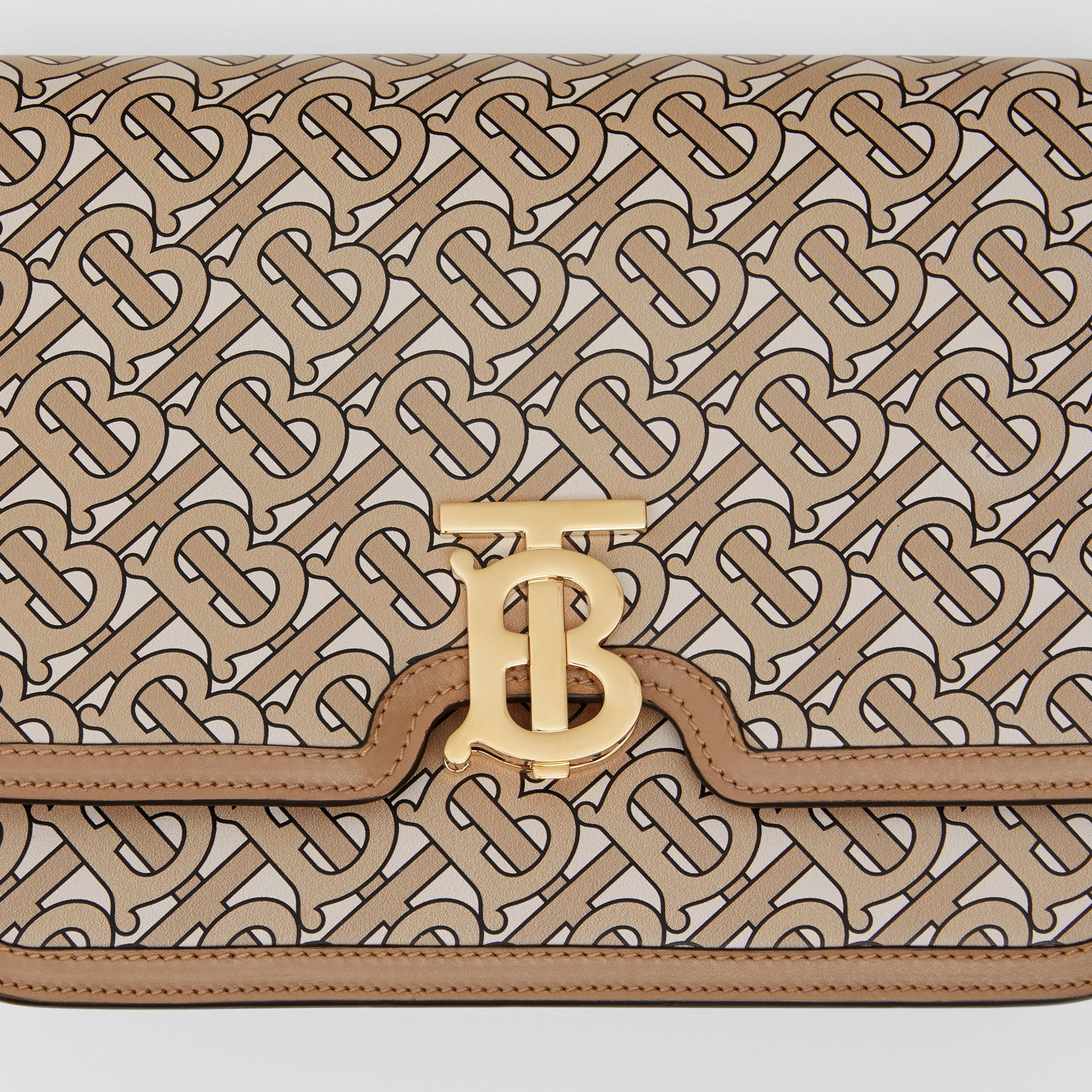 Medium Monogram Print Leather TB Bag in Beige - Women | Burberry Australia - gallery image 1