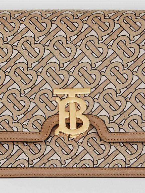 Medium Monogram Print Leather TB Bag in Beige - Women | Burberry United States - cell image 1