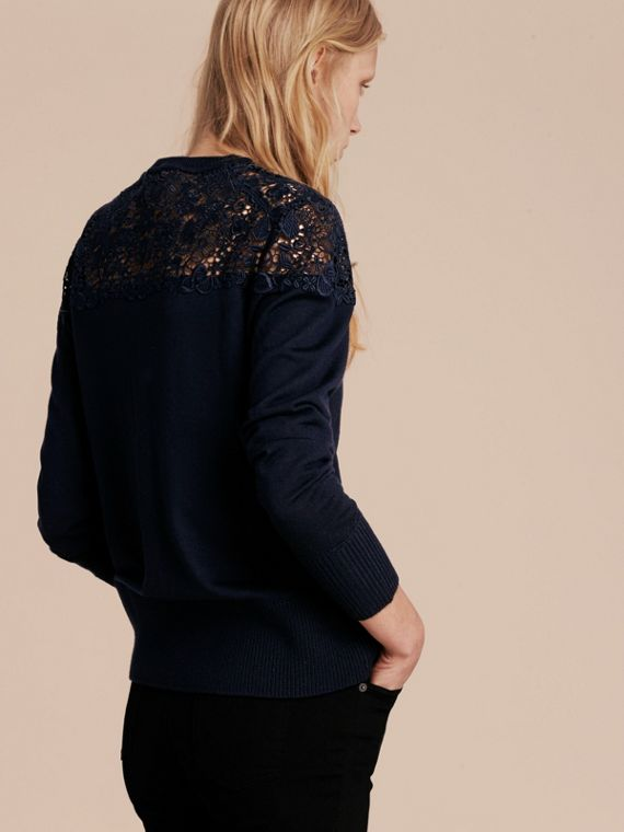 Navy Lace Yoke Merino Wool Cardigan Navy - cell image 2