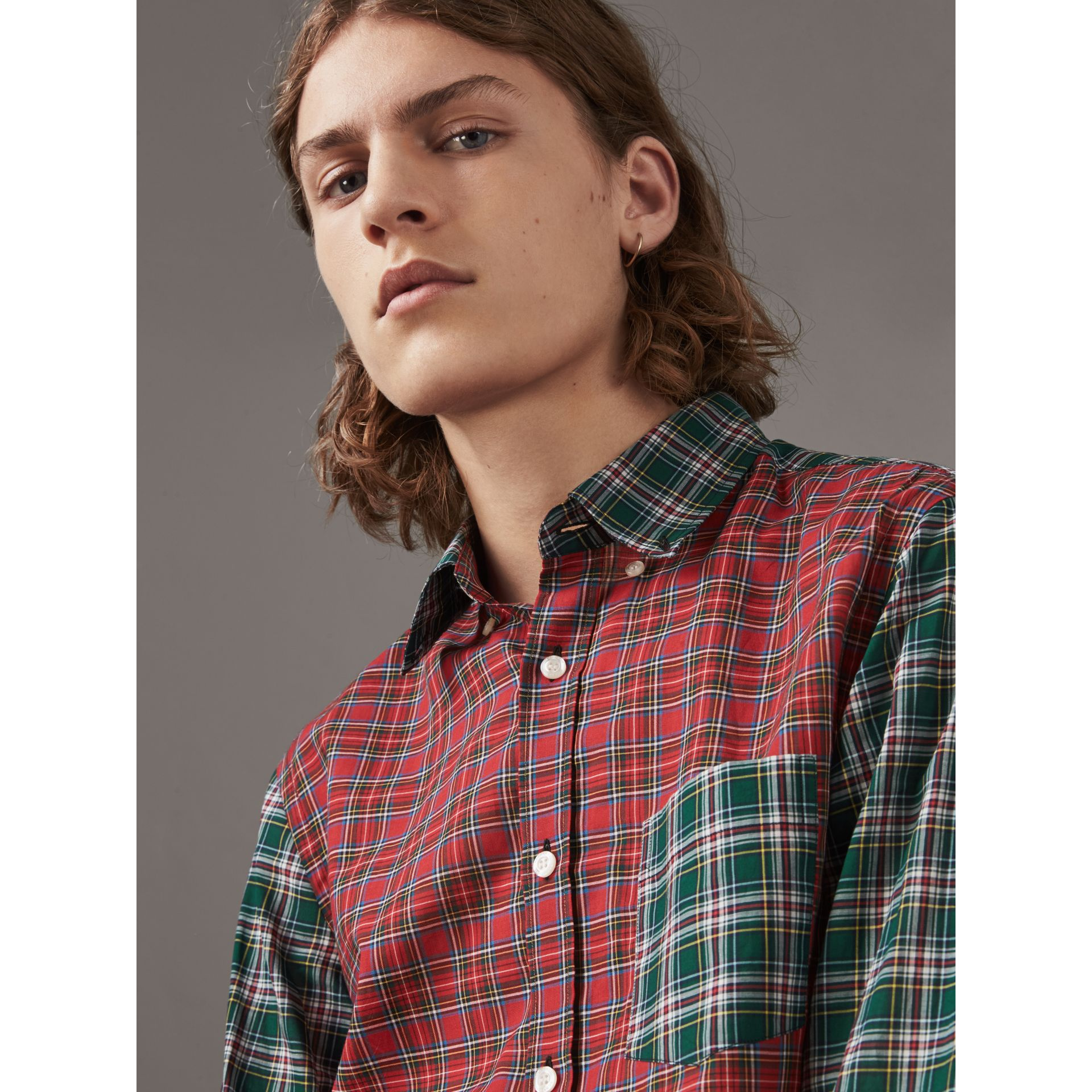 Tartan Cotton Oxford Shirt in Pine Green - Men | Burberry - gallery image 1