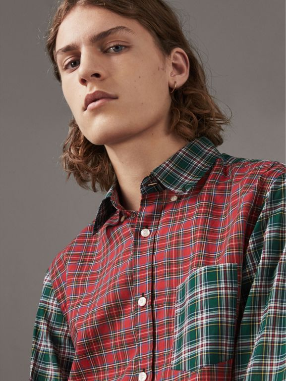 Tartan Cotton Oxford Shirt in Pine Green - Men | Burberry - cell image 1