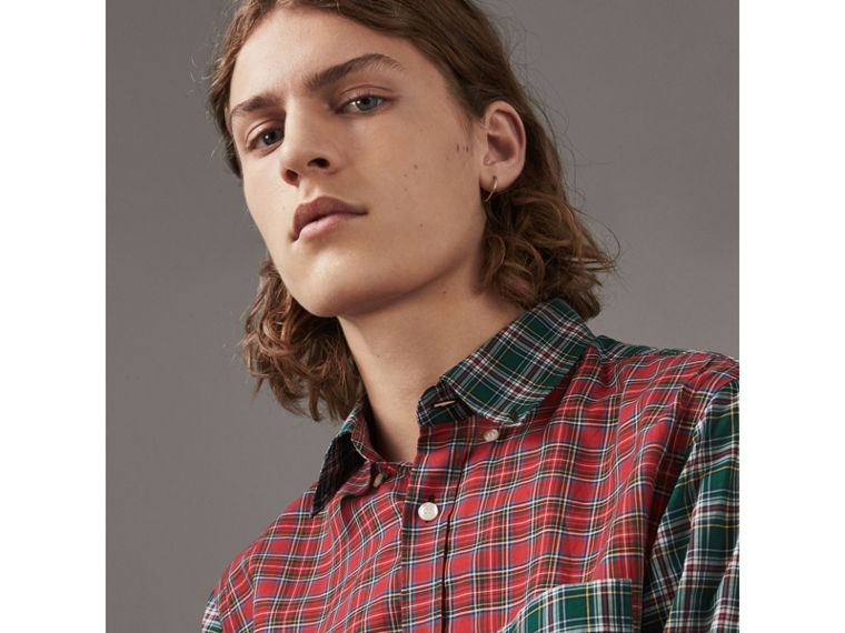 Tartan Cotton Oxford Shirt in Pine Green - Men | Burberry Hong Kong - cell image 1