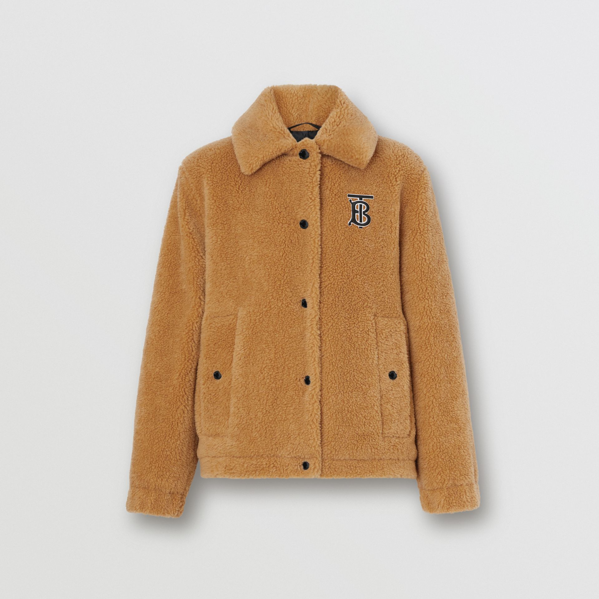 Monogram Motif Fleece Jacket in Camel - Women | Burberry - gallery image 3