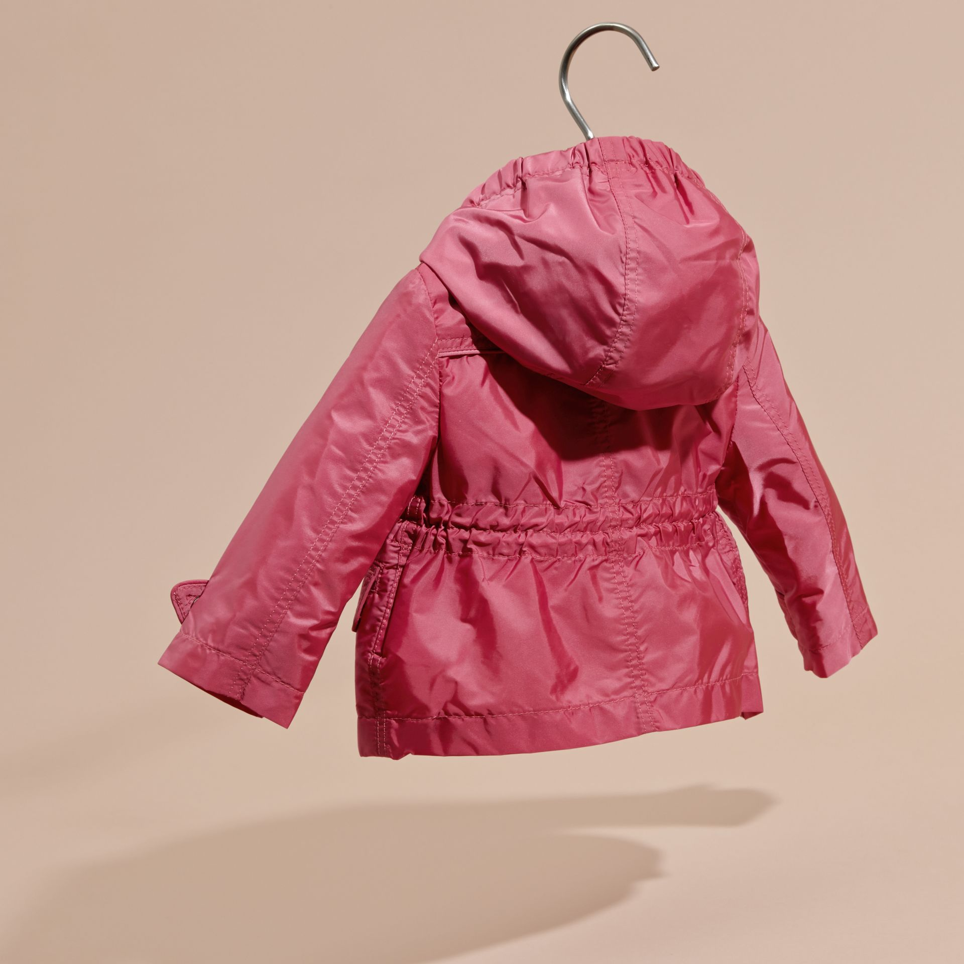Hooded Packaway Technical Jacket in Pink Azalea - gallery image 4