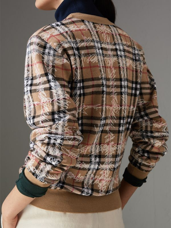 Scribble Check Merino Wool Sweater in Camel/white - Women | Burberry United Kingdom - cell image 2