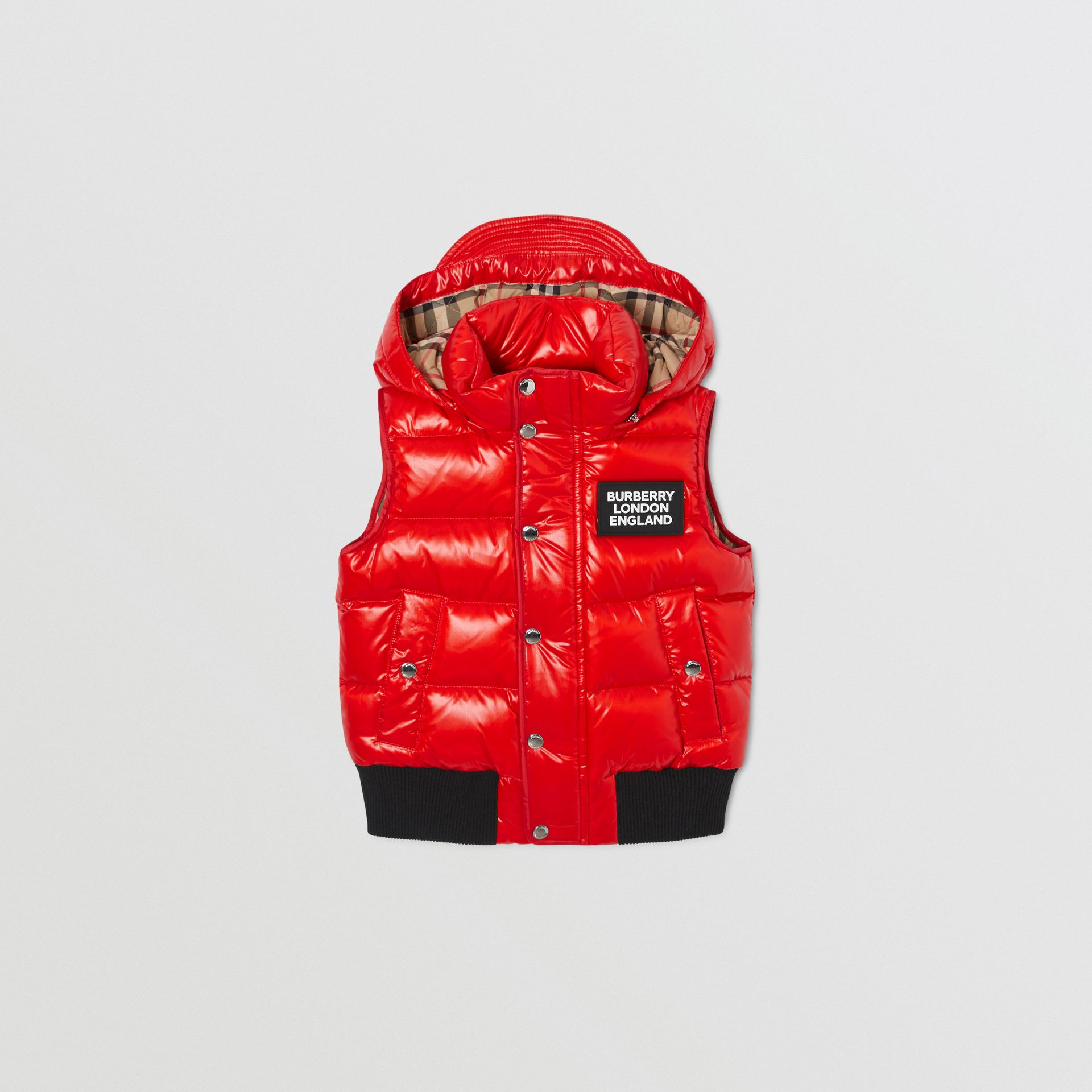 Detachable Hood Nylon Puffer Gilet in Pillar Box Red | Burberry Canada - gallery image 0