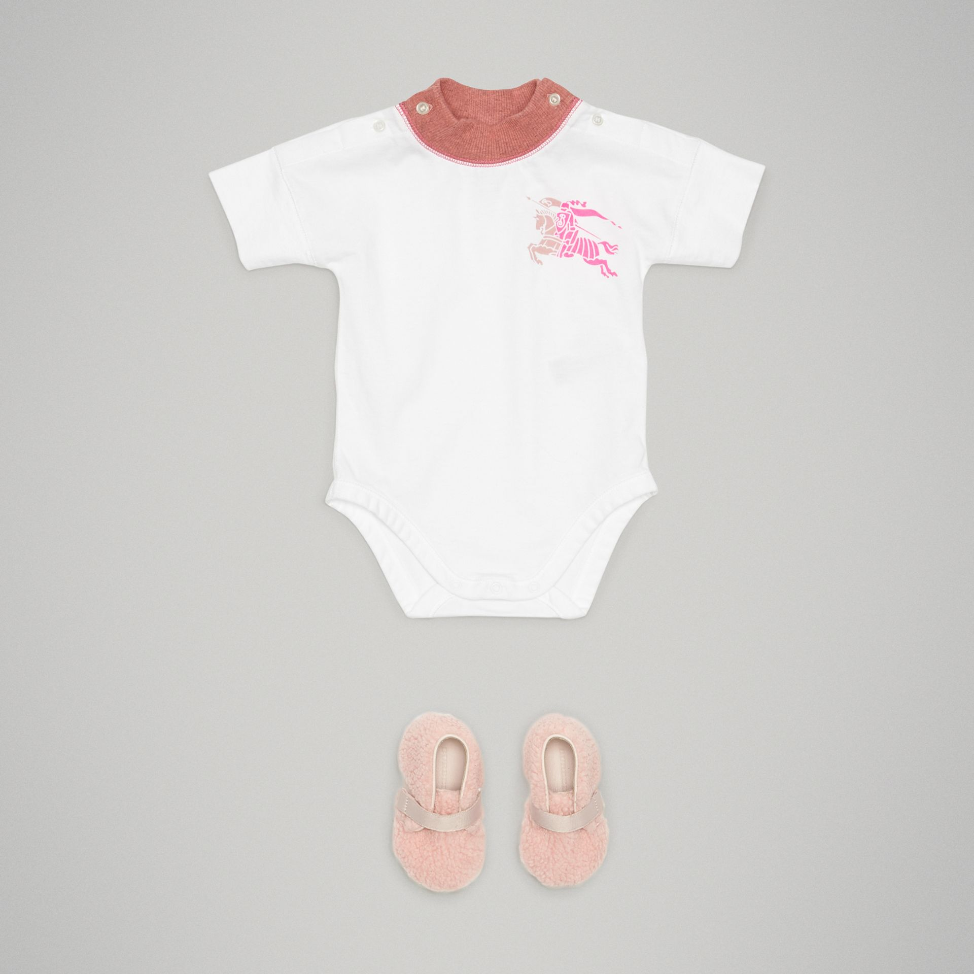 Equestrian Knight Print Cotton Bodysuit in Rose Pink - Children | Burberry - gallery image 2